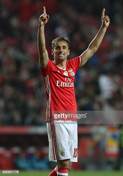 Benfica's forward from Brazil Jonas celebrates after scoring a goal during the Primeira Liga match between SL Benfica and FC Vizela at Estadio da Luz...