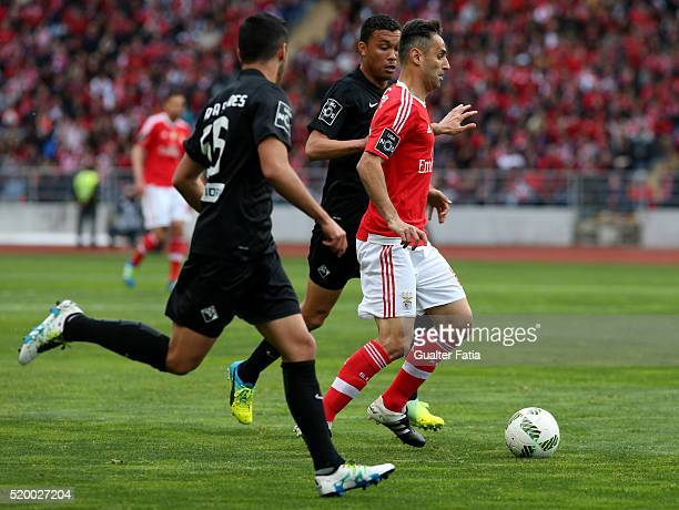 Benfica's forward from Brazil Jonas in action during the Primeira Liga match between A Academica de Coimbra and SL Benfica at Estadio Cidade de...