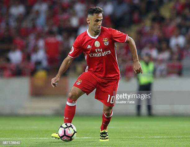 Benfica's forward from Brazil Jonas in action during the Super Cup match between SL Benfica and SC Braga at Estadio Municipal de Aveiro on August 7...
