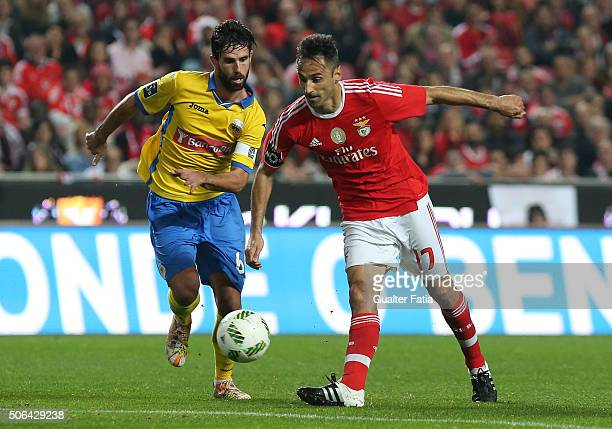Benfica's forward from Brazil Jonas with FC Arouca's midfielder Nuno Coelho in action during the Primeira Liga match between SL Benfica and FC Arouca...
