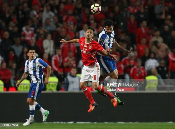 Benfica's forward from Brazil Jonas with FC Porto's defender from Brazil Felipe in action during the Primeira Liga match between SL Benfica and FC...