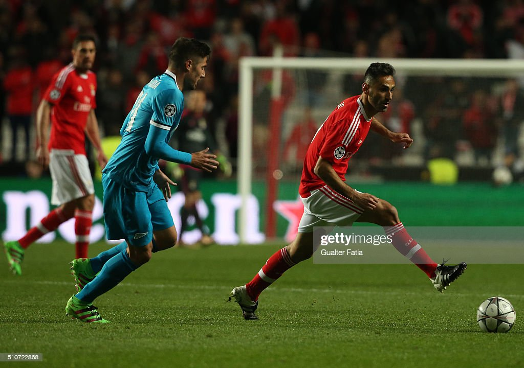 SL BenficaÕs forward from Brazil Jonas with FC ZenitÕs midfielder from Spain Javi Garcia in action during the UEFA Champions League Round of 16: First Leg match between SL Benfica and FC Zenit at Estadio da Luz on February 16, 2016 in Lisbon, Portugal.