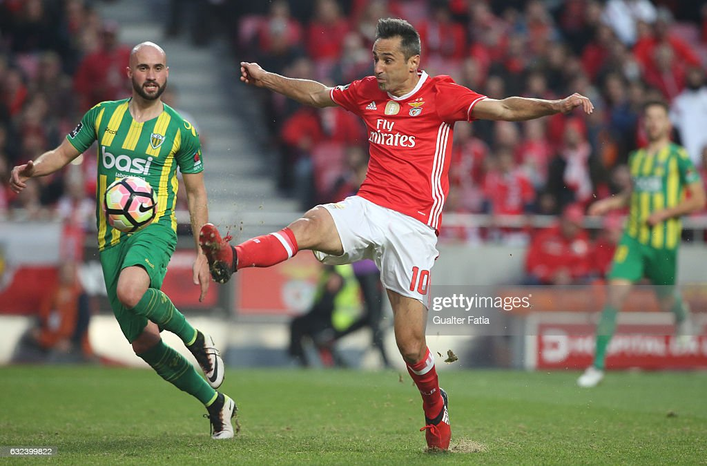 SL BenficaÕs forward from Brazil Jonas (R) with Tondela's defender Joao Pica from Portugal (L) in action during the Primeira Liga match between SL Benfica and CD Tondela at Estadio da Luz on January 22, 2017 in Lisbon, Portugal.