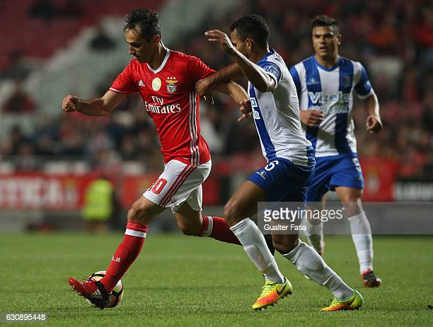 Benfica's forward from Brazil Jonas with Vizela's defender Elizio from Brazil in action during the Primeira Liga match between SL Benfica and FC...