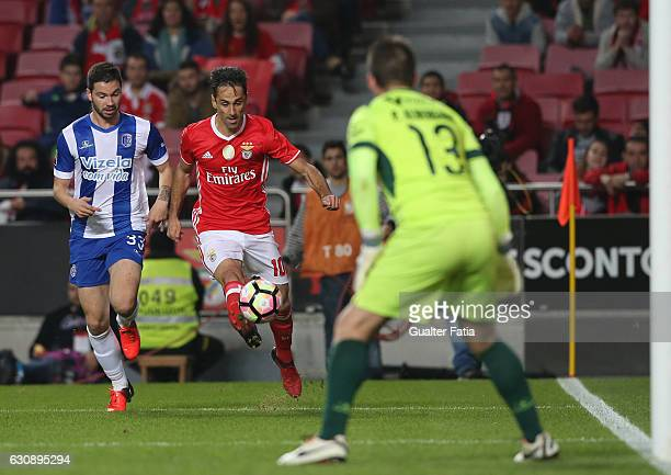 Benfica's forward from Brazil Jonas with Vizela's defender Joao Sousa from Portugal in action during the Primeira Liga match between SL Benfica and...