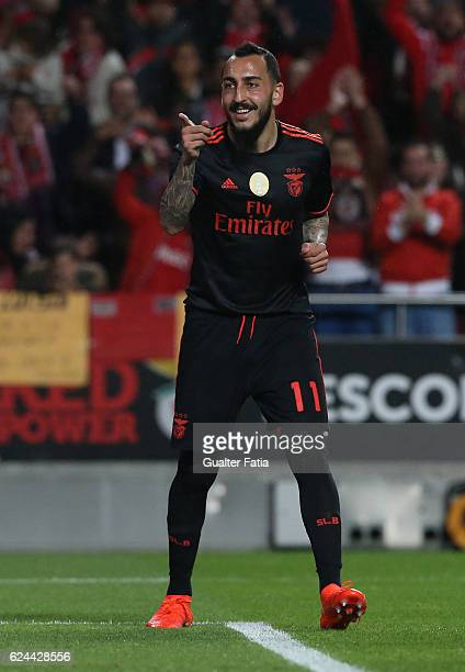 BenficaÕs forward from Greece Kostas Mitroglou celebrates after scoring a goal during the Portuguese Cup match between SL Benfica and CS Maritimo at...