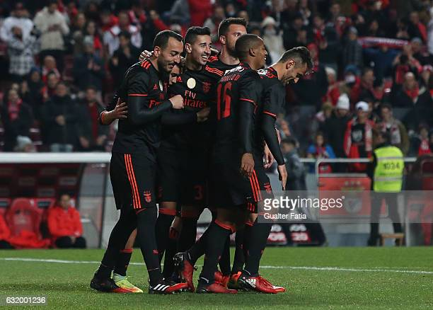 Benfica's forward from Greece Kostas Mitroglou celebrates with teammates after scoring a goal during the Portuguese Cup match between SL Benfica and...