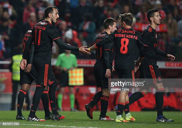 Benfica's forward from Greece Kostas Mitroglou celebrates with teammates after scoring a goal in action during the Portuguese Cup match between SL...