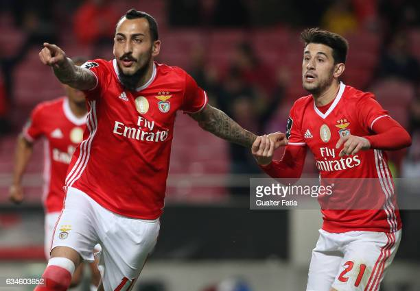 BenficaÕs forward from Greece Kostas Mitroglou celebrates with teammate SL BenficaÕs midfielder Pizzi after scoring a goal during the Primeira Liga...