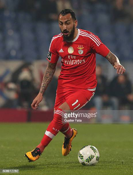Benfica's forward from Greece Kostas Mitroglou in action during the Primeira Liga match between Os Belenenses and SL Benfica at Estadio do Restelo on...