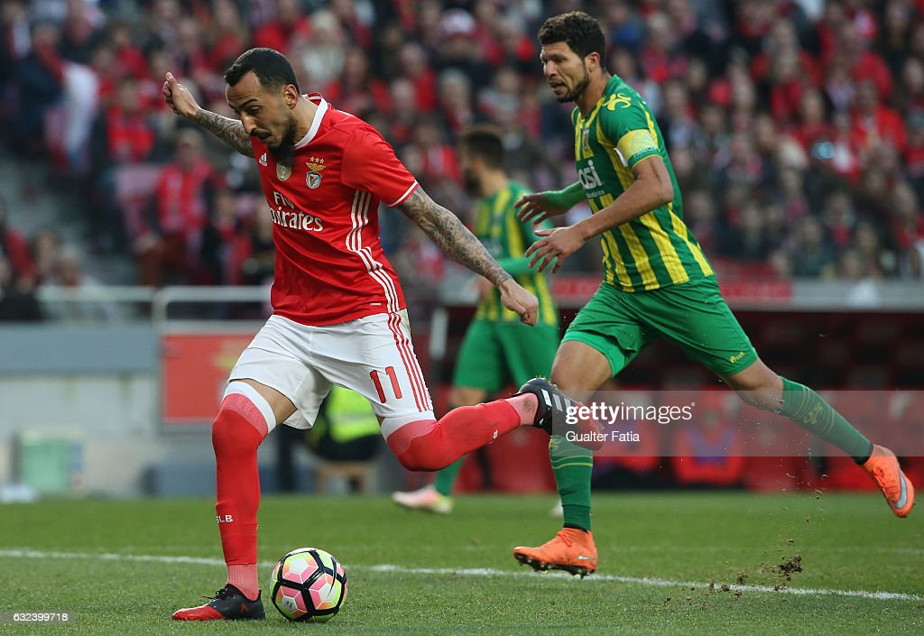 SL BenficaÕs forward from Greece Kostas Mitroglou in action during the Primeira Liga match between SL Benfica and CD Tondela at Estadio da Luz on January 22, 2017 in Lisbon, Portugal.