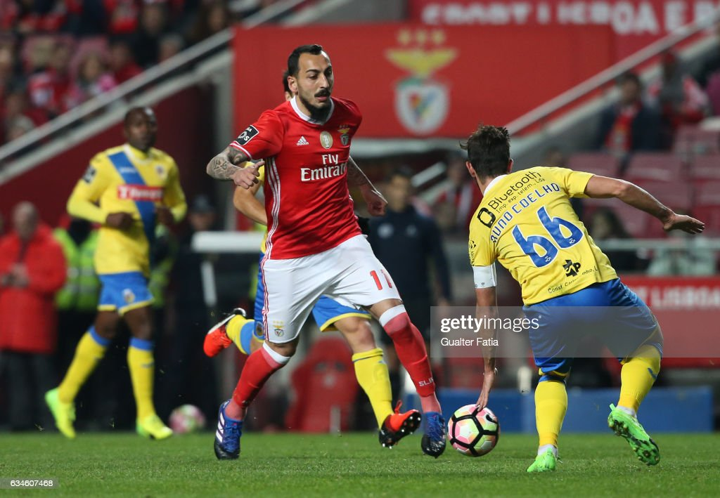 SL BenficaÕs forward from Greece Kostas Mitroglou in action during the Primeira Liga match between SL Benfica and FC Arouca at Estadio da Luz on February 10, 2017 in Lisbon, Portugal.