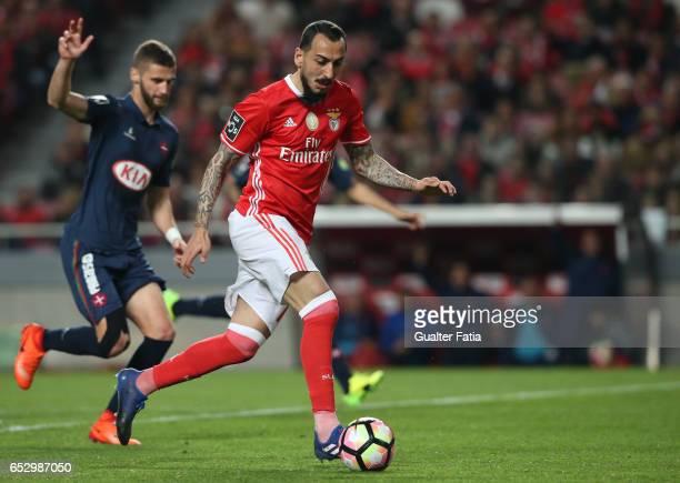 BenficaÕs forward from Greece Kostas Mitroglou in action during the Primeira Liga match between SL Benfica and CF Os Belenenses at Estadio da Luz on...