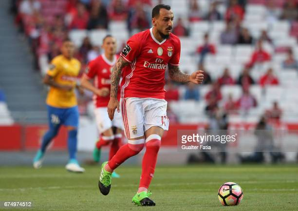 Benfica's forward from Greece Kostas Mitroglou in action during the Primeira Liga match between SL Benfica and GD Estoril Praia at Estadio da Luz on...