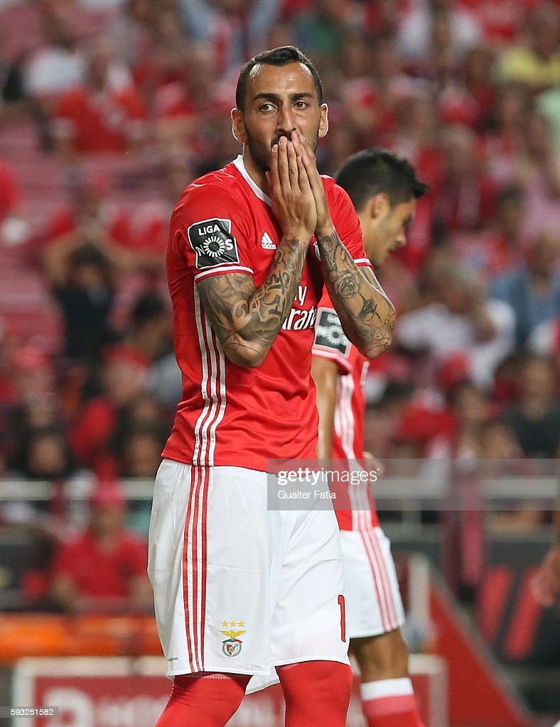 SL Benfica's forward from Greece Kostas Mitroglou reaction after missing a goal opportunity during the Primeira Liga match between SL Benfica and Vitoria de Setubal at Estadio da Luz on August 21, 2016 in Lisbon, Portugal.