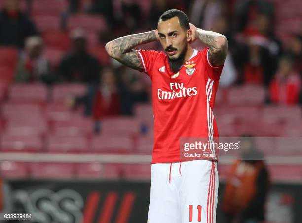 Benfica's forward from Greece Kostas Mitroglou reaction after missing a goal opportunity during the Primeira Liga match between SL Benfica and CD...