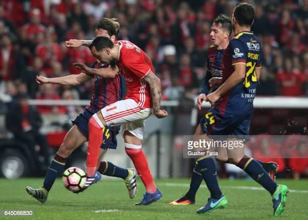 Benfica's forward from Greece Kostas Mitroglou scores goal during the Primeira Liga match between SL Benfica and GD Chaves at Estadio da Luz on...