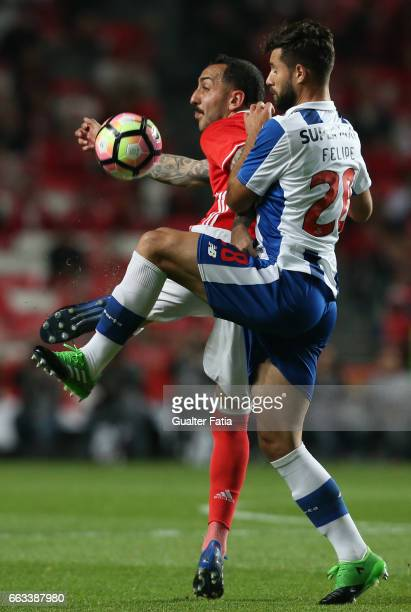 BenficaÕs forward from Greece Kostas Mitroglou with FC PortoÕs defender from Brazil Felipe in action during the Primeira Liga match between SL...