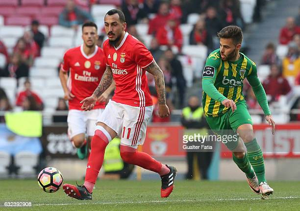 Benfica's forward from Greece Kostas Mitroglou with Tondela's forward Miguel Cardoso from Portugal in action during the Primeira Liga match between...