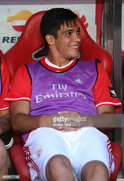 BenficaÕs forward from Mexico Raul Jimenez before the start of the Eusebio Cup match between SL Benfica and Torino at Estadio da Luz on July 27 2016...
