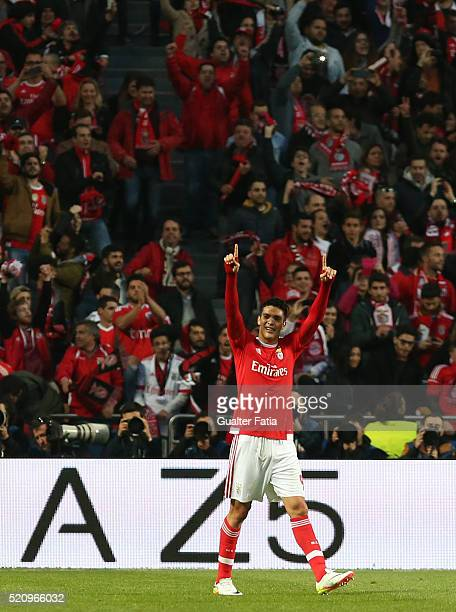 Benfica's forward from Mexico Raul Jimenez celebrates after scoring a goal during the UEFA Champions League Quarter Final Second Leg match between SL...