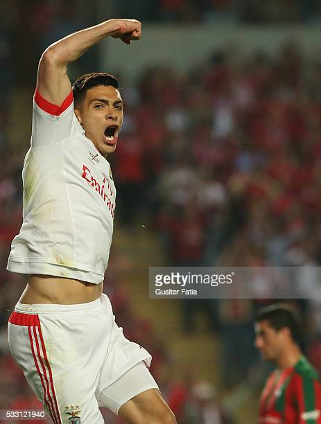 Benfica's forward from Mexico Raul Jimenez celebrates after scoring a goal during the Taca CTT Final match between SL Benfica and CS Maritimo at...