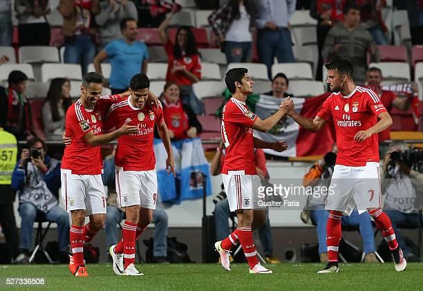 Benfica's forward from Mexico Raul Jimenez celebrates with teammate SL Benfica's forward from Brazil Jonas after scoring a goal during the Taca CTT...