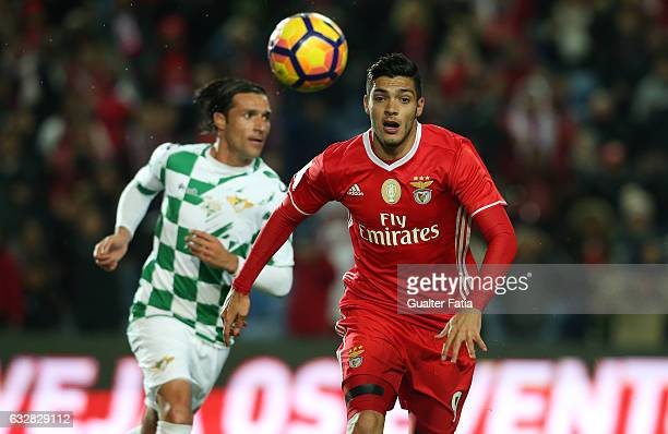 Benfica's forward from Mexico Raul Jimenez in action during Portuguese League Cup Semi Final match between SL Benfica and Moreirense FC at Estadio...