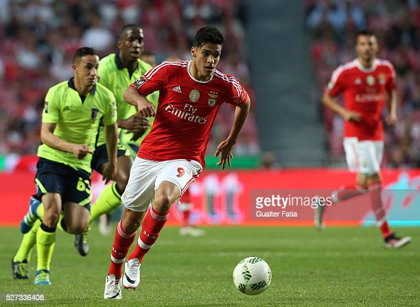 Benfica's forward from Mexico Raul Jimenez in action during the Taca CTT match between SL Benfica and SC Braga at Estadio da Luz on May 2 2016 in...