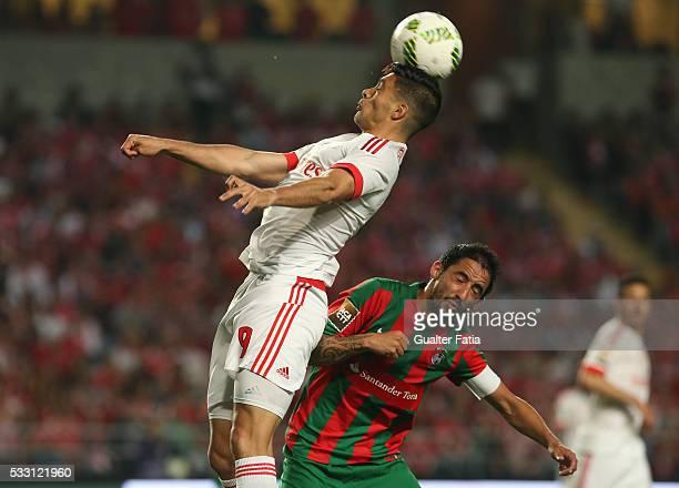 Benfica's forward from Mexico Raul Jimenez in action during the Taca CTT Final match between SL Benfica and CS Maritimo at Estadio Efapel Cidade de...