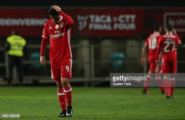 Benfica's forward from Mexico Raul Jimenez reaction during Portuguese League Cup Semi Final match between SL Benfica and Moreirense FC at Estadio...