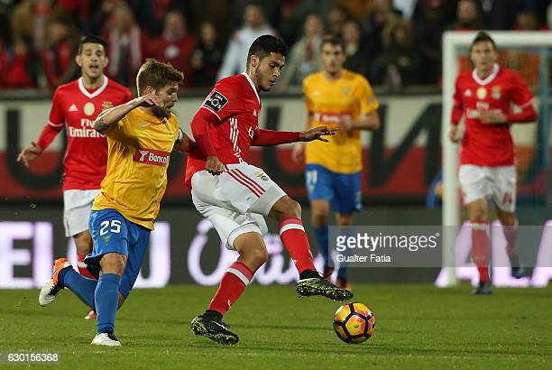 Benfica's forward from Mexico Raul Jimenez with Estoril's midfielder Diogo Amado from Portugal in action during the Primeira Liga match between GD...