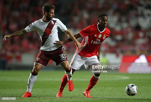 Benfica's forward from Peru Andre Carrillo with Torino's midfielder Mattia Aramu in action during the Eusebio Cup match between SL Benfica and Torino...