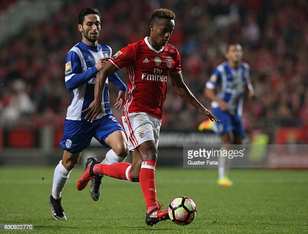 Benfica's forward from Peru Andre Carrillo with Vizela's midfielder Tiago Ronaldo from Portugal in action during the Primeira Liga match between SL...