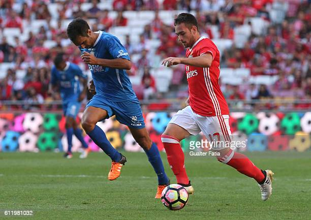 Benfica's forward from Serbia Andrija Zivkovic with Feirense's midfielder Ricardo Dias from Portugal in action during the Primeira Liga match between...