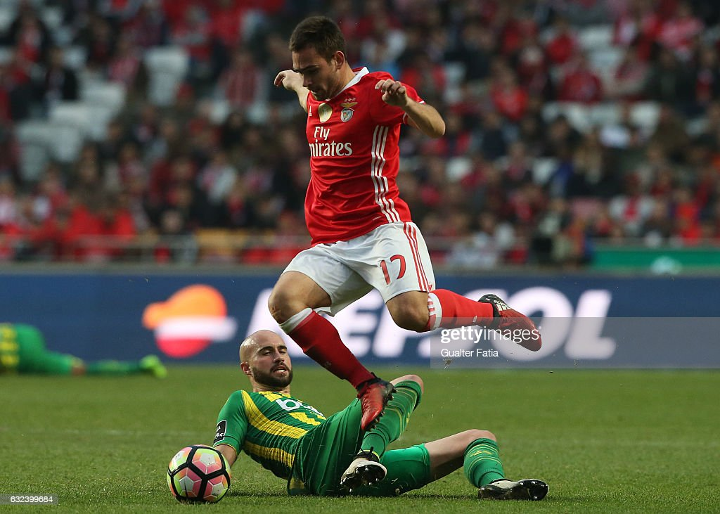 SL BenficaÕs forward from Serbia Andrija Zivkovic with Tondela's defender Joao Pica from Portugal in action during the Primeira Liga match between SL Benfica and CD Tondela at Estadio da Luz on January 22, 2017 in Lisbon, Portugal.