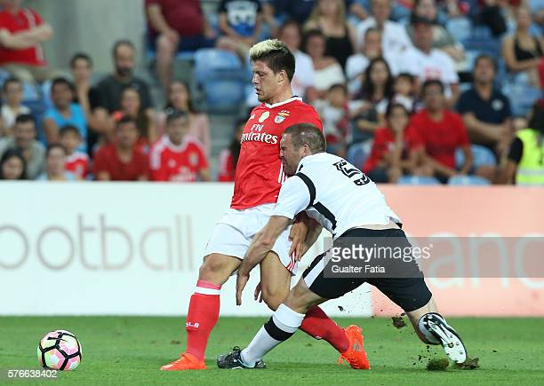Benfica's forward from Serbia Luka Jovic with Derby County's defender Buxton in action during the Algarve Football Cup Pre Season Friendly match...