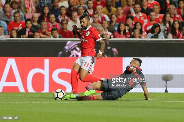 Benficas forward Gabriel Barbosa from Brazil and Bragas defender Jefferson from Brazil during the Portuguese Cup 2017/18 match between SL Benfica v...