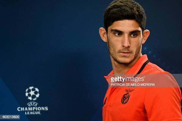 Benfica's forward Goncalo Guedes arrives to give a press conference at Luz stadium on September 12 2016 on the eve of their Champions league group B...