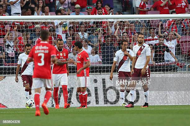 Benfica's forward Goncalo Guedes celebrates with his team mate Benfica's forward Kostas Mitroglou scoring Benfica's goal during the match between SL...