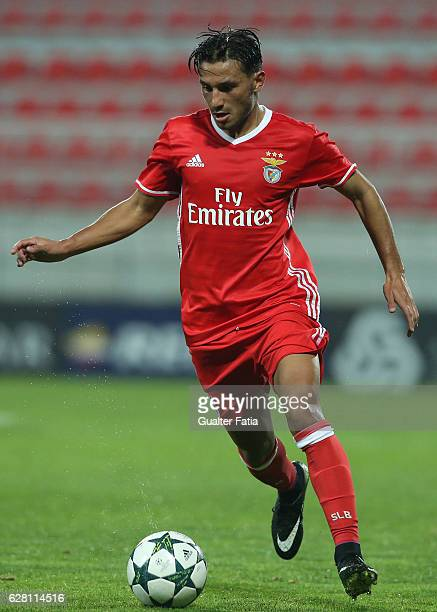Benfica's forward Joao Carvalho in action during the UEFA Youth Champions League match between SL Benfica and SSC Napoli at Caixa Futebol Campus on...