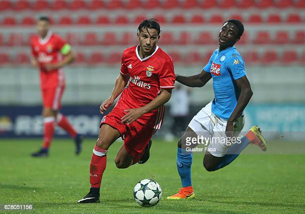 BenficaÕs forward Joao Carvalho with Salvatore Spavone of Napoli in action during the UEFA Youth Champions League match between SL Benfica and SSC...
