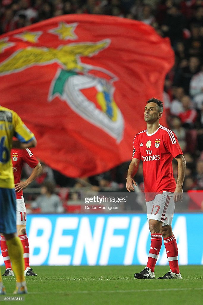 Benfica's forward Jonas after scoring Benfica«s third goal during the match between SL Benfica and FC Arouca at Estadio da Luz on January 23, 2016 in Lisbon, Portugal.