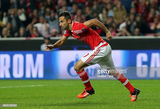 Benfica's forward Jonas celebrates after scoring a goal during the UEFA Champions League match between SL Benfica and Galatasaray AS at Estadio da...