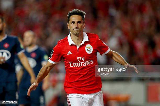 Benfica's forward Jonas celebrates his goal during Premier League 2017/18 match between SL Benfica vs CF Belenenses in Lisbon on August 19 2017