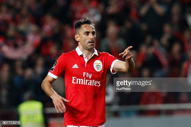 Benfica's forward Jonas celebrates his second goal during Primeira Liga 2017/18 match between SL Benfica vs GD Chaves in Lisbon on January 20 2018