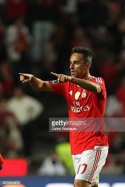 Benfica's forward Jonas celebrates scoring Benfica's first goal during the match between SL Benfica and Vitoria de Setubal for Portuguese Primeira...