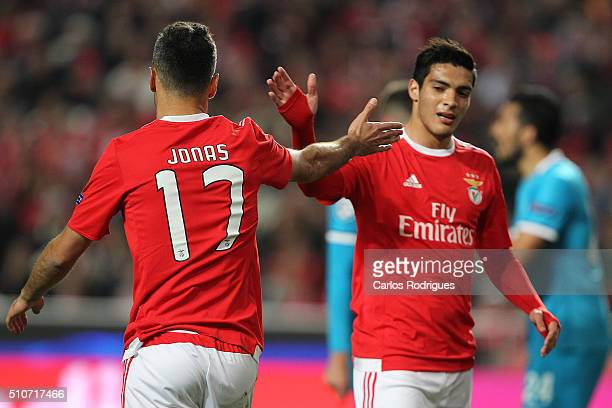 Benfica's forward Jonas celebrates scoring Benfica«s goal with Benfica's forward Raul Jimenez during the match between SL Benfica and FC Zenit for...