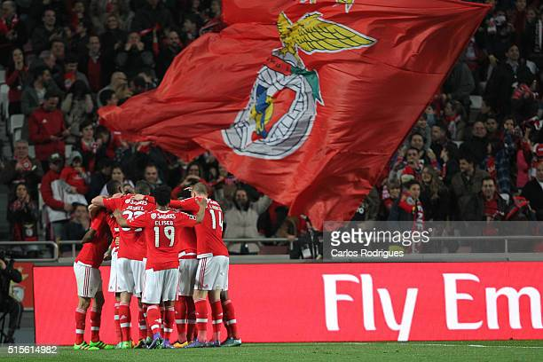 Benfica's forward Jonas celebrates scoring Benfica's second goal during the match between SL Benfica and CD Tondela for the portuguese Primeira Liga...