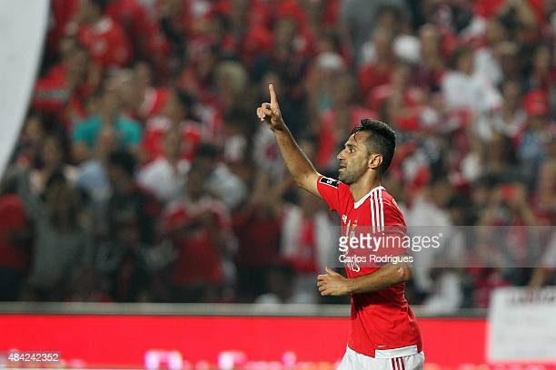 Benfica's forward Jonas celebrates scoring Benfica«s third goal goal during the match between SL Benfica and Estoril Praia at Estadio da Luz on...